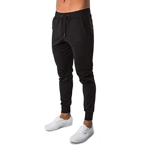 LeerKing Pantaloni Sportivi da Palestra da Uomo Pantaloni da Corsa Pantaloni da Allenamento in Cotone Pantaloni Sportivi Casual con Coulisse in Vita per Campeggio, Escursionismo, Nero, XL