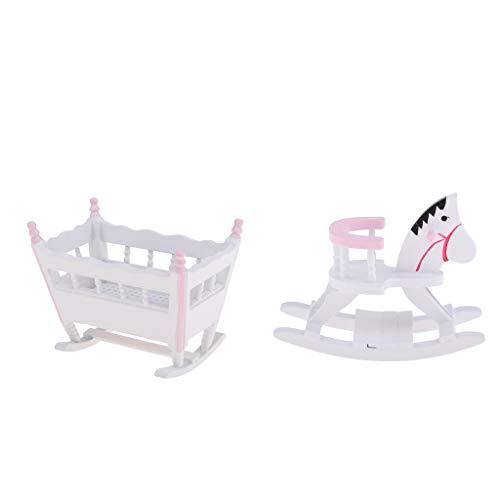 F Fityle Miniatura Muebles de Madera Cama de Bebé Renacido con Mecedor de Caballo para Escala 1/12...