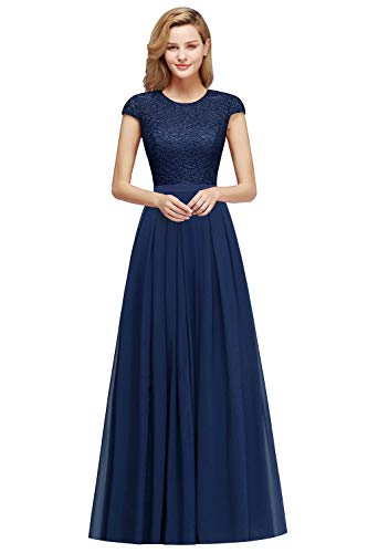 MisShow Women's Cap Sleeve Floral Lace Long Prom Evening Gown Navy Blue Bridesmaid Dress Size2