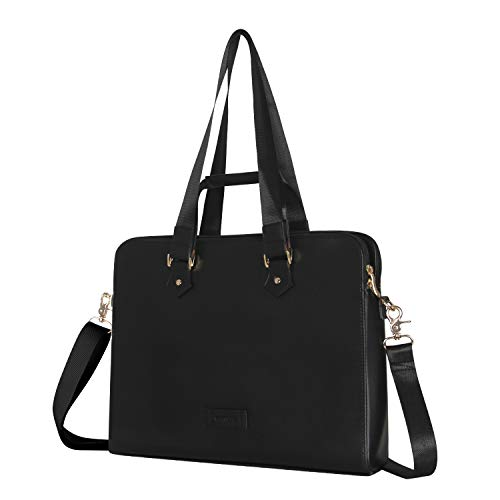 Laptop Bag 15.6 Inch - for Women PU Waterproof Fashion Shoulder Messenger(Black)