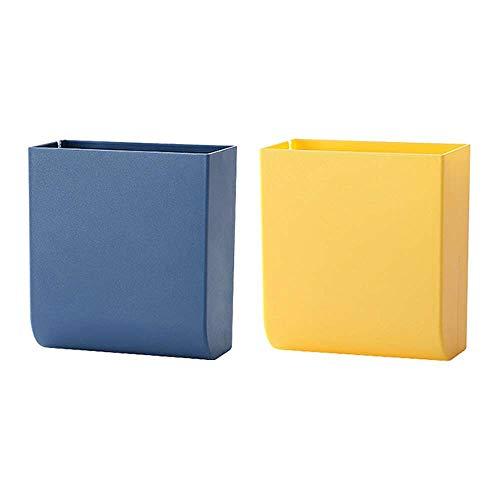 XJF 2 cajas de almacenamiento de control remoto, caja de almacenamiento de plástico multifunción, caja organizadora de pared sin perforaciones para el hogar y la oficina (color al azar)