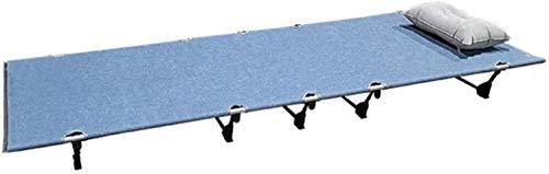 JNWEIYU Heavy Duty Plegable Catre, Portátil Plegable Individual Catre Viajes Oficina al Aire Libre, Tela de Lino, Resistente al Agua y al Desgaste resistantwith Bolsa de Almacenamiento (Color : Blue)