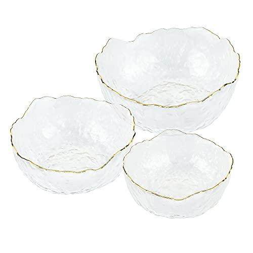 Navaris Glasschüssel Set mit goldenem Rand - 3 Größen - Glas Servierschüssel Set für Salat Dessert Obst Snacks - Salatschüssel Glasschale rund