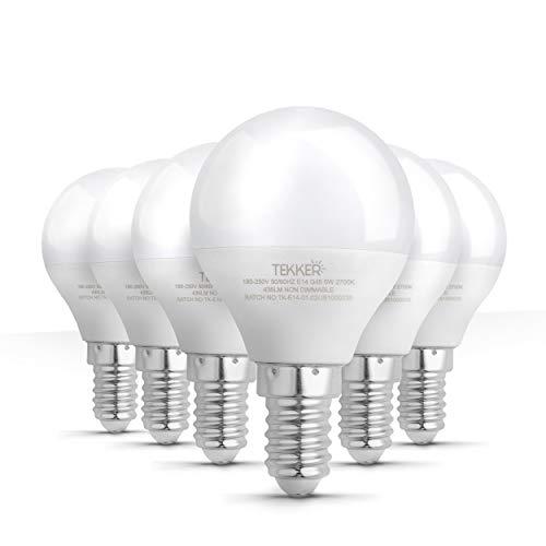 TEKKER® Premium E14 LED Lampen Birnenform Warmweiss [2700K] – [400] Lm – [5]W – [160°] Strahlwinkel – Optimales [6]er-Set – Ideal für Schlaf- und Wohnzimmer – [Energieklasse A+]