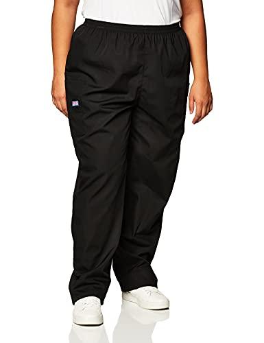 CHEROKEE Women's Workwear Elastic Waist Cargo Scrubs Pant, Black, X-Large