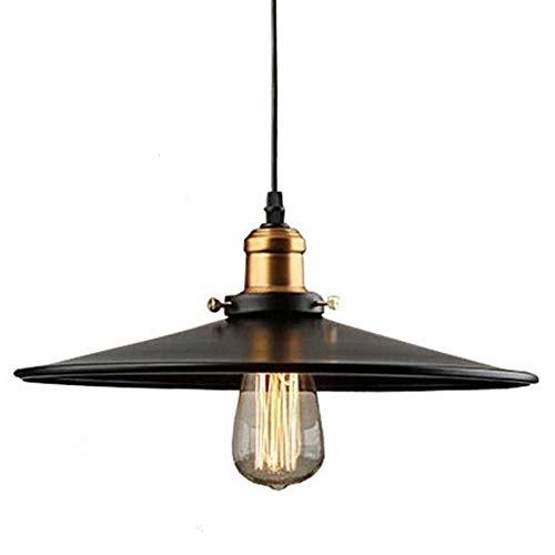E27 Lampadari a Sospensione Design Semplice Industrial dell'Annata del Pendente Edison soffitto Illuminazione Ombra Ristorante Lampada a Sospensione Nera Lampada per bar ristorante Loft (Ø 22cm)