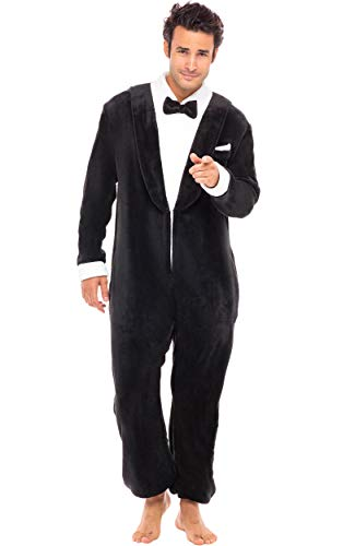 Alexander Del Rossa Men's Warm Fleece One Piece Footed Pajamas, Adult Onesie with Hood, Medium Tuxedo Non Footed (A0320TUXMD)