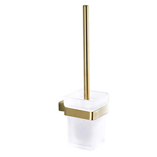 CASEWIND Klobürste Gold Toiletten Set Glas Ersetzbar Klobürstenhalter Toilettenbürstenhalter mit Becher Eckig Toilettenbürste Edelstahl Wandmontage Gebürstet Gold WC Garnitur Set
