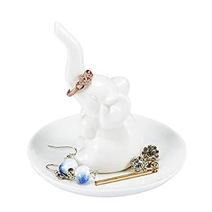 HomeSmile Elephant Ring Dish Holder for Jewelry,Engagement Wedding Trinket Trays White
