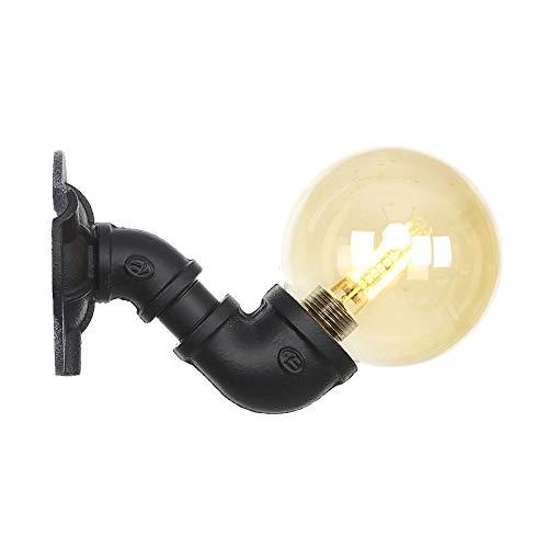 Ganeep Lámpara de pared LED Hierro Negro Tubería de agua Loft Aplique...