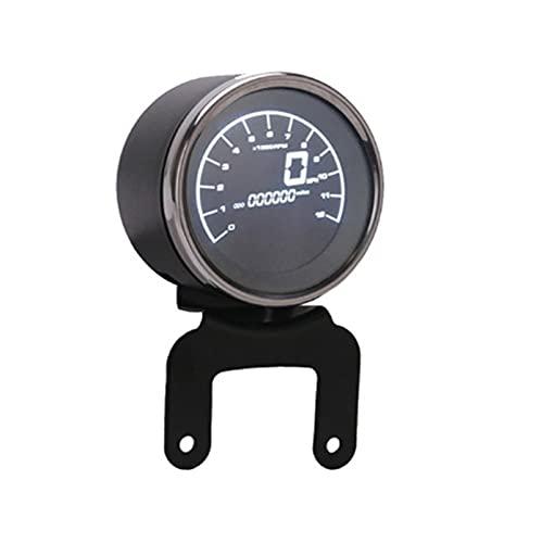 Z-LIANG Medidores multifuncionales Instrumentos Motocicleta Digital Odómetro Tacómetro Nivel de Combustible Medidor de Velocidad Indicador LED Ronda 12000 RPM (Color : Only Speedometer)