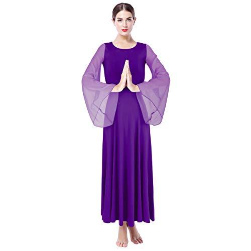 Lyrical Dancewear - Vestido de baile literal, corte holgado, para ceremonias, fiestas morado XL