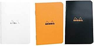 Pack of 3Rhodia Side Stapleboundポケットノートブック(3x 4.75)オレンジ、ブラックとホワイト