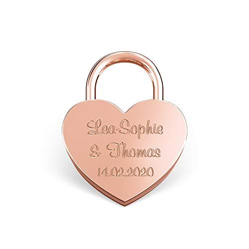 LIEBESSCHLOSS-FACTORY Kleines mini Herz-Schloss Rosé-Gold mit Gravur und Schlüssel, gratis Geschenkbox uvm. Jetzt graviertes Liebes-Schloss in Herzform gestalten!