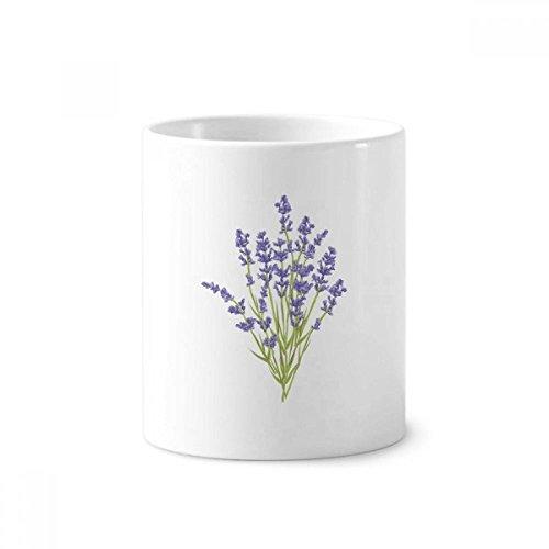 Flowers Plant Painting Lavender Toothbrush Pen Holder Mug White Ceramic Cup 12oz