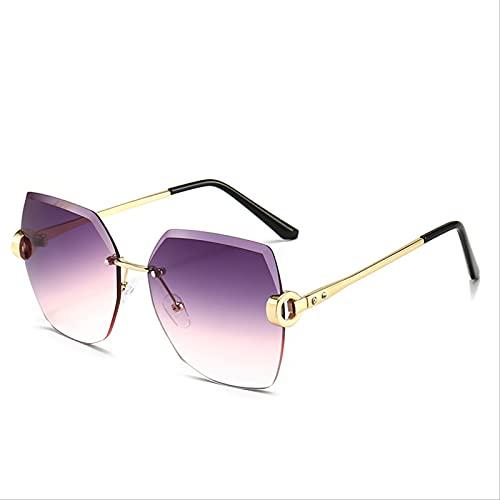 ZHANGMINGXI Gafas De Sol Para Mujer, Ribetes Metálicos Sin Montura, Gafas De Tiro Callejero, Gafas De Sol Con Protección Solar, Protección Uv Marco dorado morado progresivo