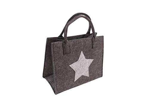 CB Home & Style Filztasche Einkaufstasche Stern Tasche Shopper ca. 35 x 20 x 28 cm Einkaufskorb (Anthrazit-Stern)