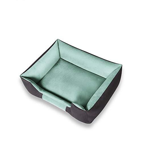 Hundebetten Mittelgroßes, pflegeleichtes Luxus-Hundebett mit quadratischem Kissen und abnehmbarem Bezug Run-anmy (Color : Green)