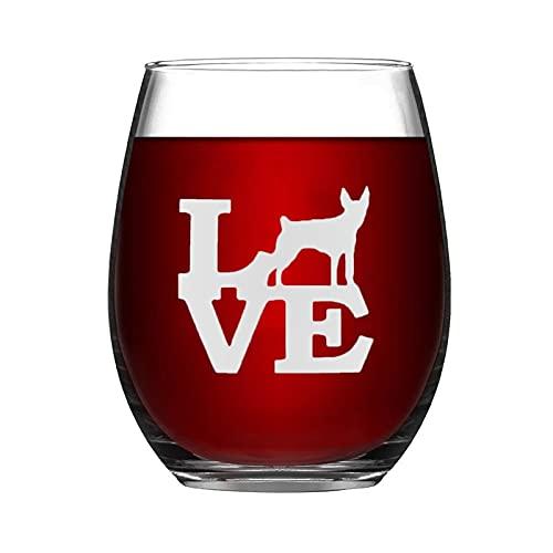 Copa de vino para perro Rat Terrier Love Dog Pet Animal Divertida copa de vino sin tallo, grabado con láser, para whisky, para ella, mamá, esposa, jefe, hermana, BFF, 15 onzas