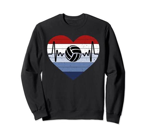 I Love Voleibol Rojo Blanco & Azul Vintage Corazón & Heartbeat Sudadera