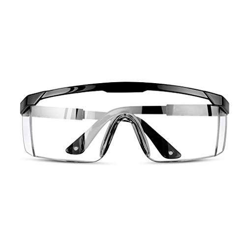 Clear Safety Goggles Anti-Fog Transparent Safety Glasses Windproof and Dustproof Goggles for Men, Women Dustproof (Color : Black)