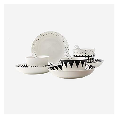 Juego de vajilla con diseño geométrico de 12 piezas de plato de cerámica duradera, juego de platos frescos y sencillos con 4 platos, 4 cuencos y 4 cucharas, platos de postre