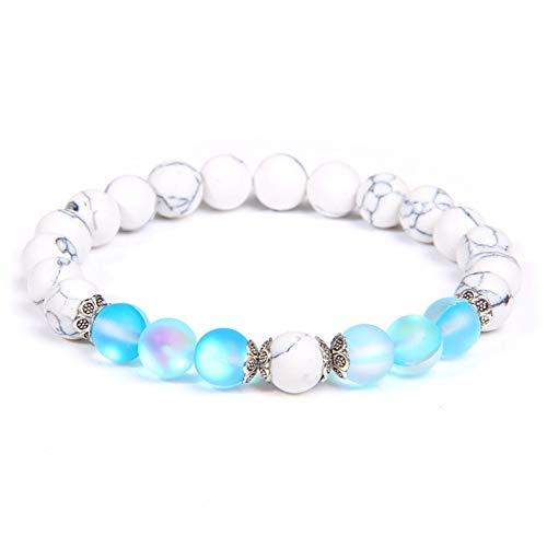 K-ONE Pulseras de Cuentas de Piedra de Piedra Lunar para Mujer, Pulseras de turquesas Blancas, brazaletes de Pareja de oración curativa Brillante, Regalos de joyería Femenina