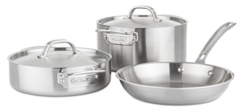 Viking Culinary Professional 5-Ply Stainless Steel Cookware Set, 5 Piece, Silver