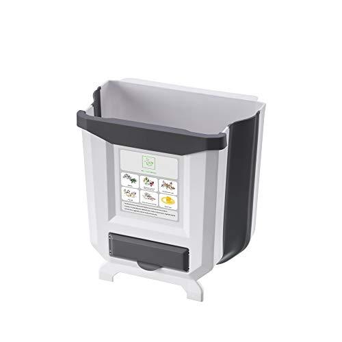 ALEENFOON - Papelera plegable con soporte para bolsa de basura para armario de cocina, puerta de armario de cocina, pequeña cesta de basura plegable para colgar, cubo de basura para dormitorio