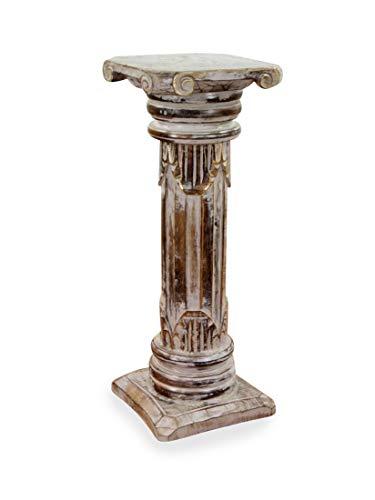 livasia Edle Holzsäulen | Podest | Blumensäule | Dekosäulen im Antik-Look| Bali Wohnaccessoires | Handarbeit | (60cm Höhe)