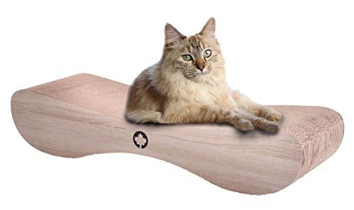 CanadianCat Company ® | XXL Satellite 2.0 Lounge | Natur | Kratzmöbel, Kratzbrett |Qualitäts-Pappe +Katzenminze | 76 X 24 X 15cm