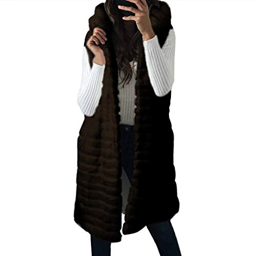 Great Deal! NANTE Top Loose Women's Coat Faux Fur Coats Solid Hooded Sleeveless Outwear Jacket Outer...