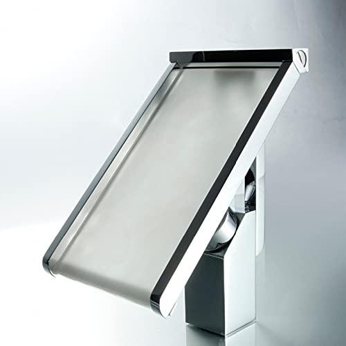 ZHQJY Grifo de lavabo cromado de pared de cascada de luz LED, grifo de lavabo de tocador, grifo mezclador de lavabo, grifos de baño