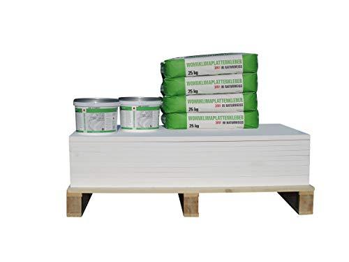 CaSi-Systems Renovierset Klimaplatte 25 mm klassisch, Wohnklimaplatte, Calciumsilikatplatte, inkl. Silikatgrundierung und Klimaplattenkleber (12,2 m²)