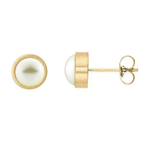 Heideman Ohrringe Damen Coma aus Edelstahl gold farbend matt Ohrstecker für Frauen mit Perle weiss rund 6mm