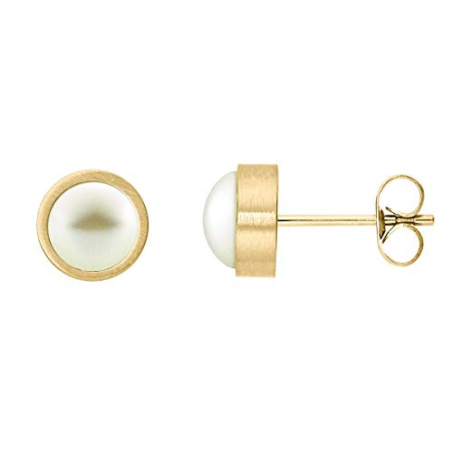 Heideman Ohrringe Damen Coma aus Edelstahl gold farbend matt Ohrstecker für Frauen mit Swarovski Perle weiss rund 6mm
