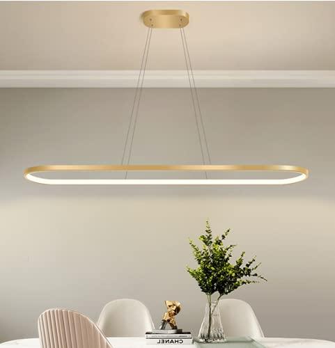 LED Oro Lámpara de techo Regulable Candelabro Creativo comedor sala Lámpara colgante Diseño de anillo de línea Regulable en altura Comedor Cocina Cuarto Lámpara colgante Luz de tres colores (90cm)