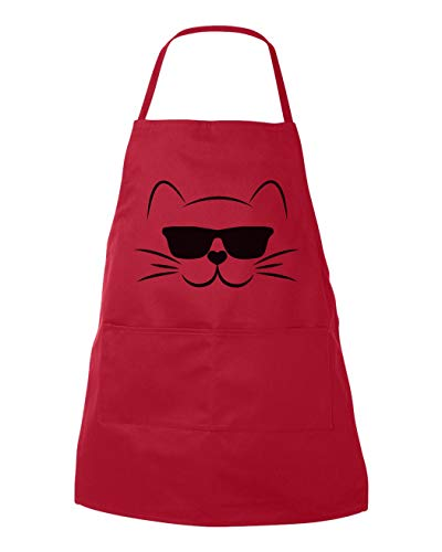ArthuereBack Katzenschürze, Coole Katzen-Schürze, Küchenschürze, Schürze, Geschenkschürze mit Taschen, Metzgerschürze, Katzenliebhaber, lustige Schürzen, Cooles Design