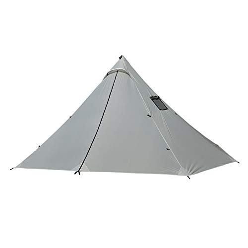HHOSBFSS Tienda Ultraligera De La Tienda De Chimenea Grande, Dos Puertas De Silicona Nylon Al Aire Libre Camping Mochilero Pirámide Tienda Titular De Humo (Color : White Tent (White))