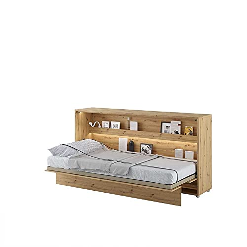 LENART Bed Concept - Cama plegable horizontal (90 x 200 cm), color roble claro