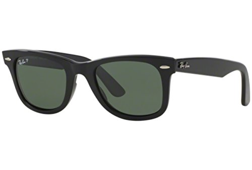 Ray Ban Rb2140 Original Wayfarer Black / Green (Polarized) Kunststoffgestell Sonnenbrillen, 54mm