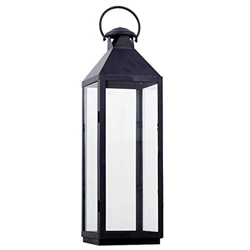 JY&WIN Linterna de Vela de Metal Negro, Linterna de candelabro Decorativa Vintage con Vela de Pilar led para Eventos Interiores al Aire Libre, Fiestas, Bodas, Negro 23x23x73.5cm (9x9x29inch)
