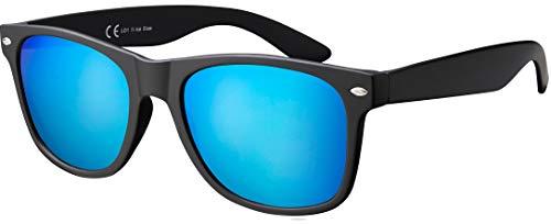 La Optica Original UV400 CAT 3 Unisex Sonnenbrille - Einzelpack Gummiert Schwarz (Gläser: Hellblau Verspiegelt)