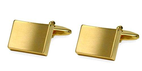 Unbekannt vergoldete Manschettenknöpfe matt gebürstet rechteckig konkav + Geschenkbox