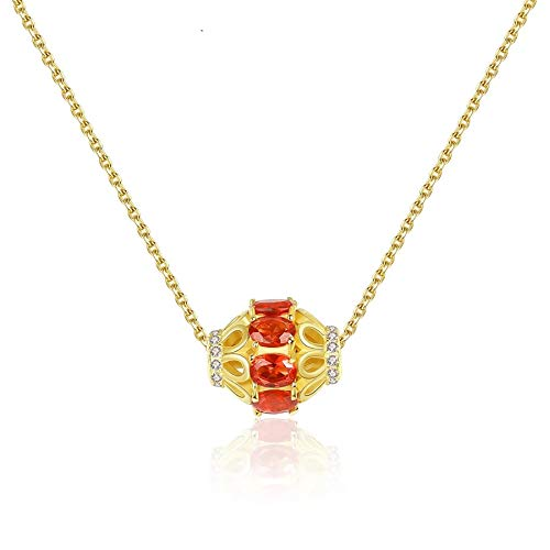 925 Sterling Silver Round Pendant Necklaces for Women Wedding Fine Jewelry Topaz Gemstone Collares Gift