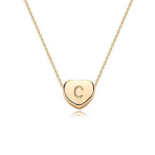 Tiny Gold Initial Heart Necklace-14K Gold Filled Handmade Dainty Personalized Heart Choker Necklace For Women Letter C