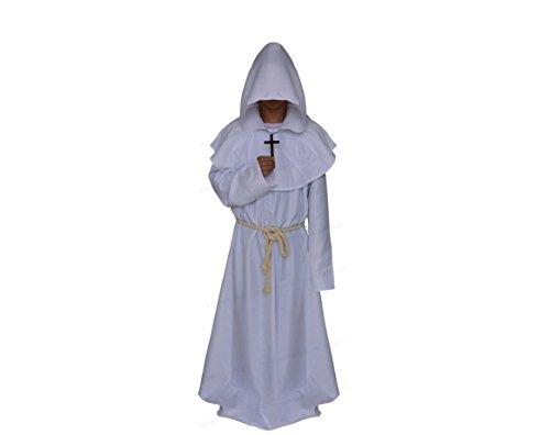 Prettycos Adultos Disfraz de Monje Verdugo Sacertote Traje Medieval con Cruz Cosplay para Halloween Carnaval