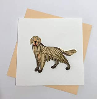 Golden Retriever Dog Quilling Greeting Card, 6x6