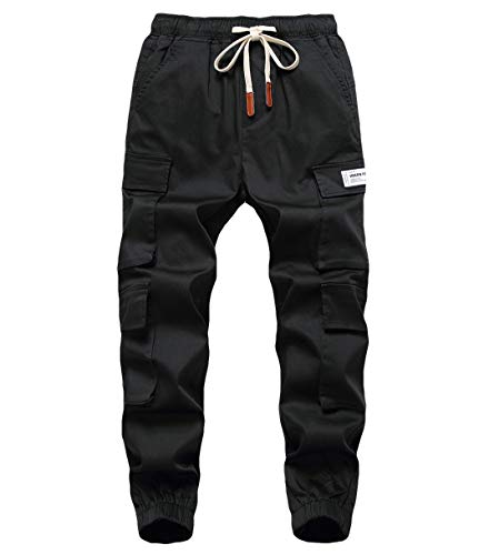 LAUSONS Kinder Junge Cargohose Jogging Freizeithose mit Multie-Taschen Schwarz 170