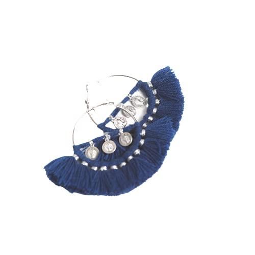 VLiving Aros azul oscuro, pendientes enhebradores, pendientes tribales bohemios